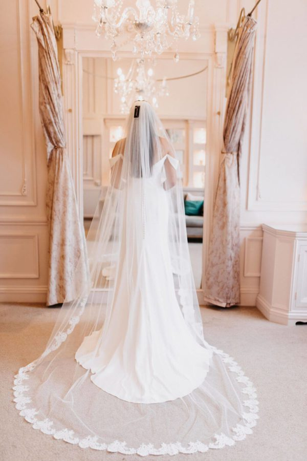 This gorgeous bestselling single tier veil is in a classic Tulle with Alicia Lace all around the hem. Click to shop now.