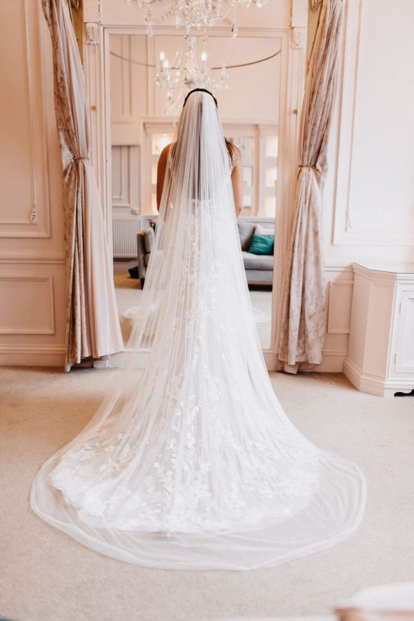 The Lexi single tier veil is in a silky tulle with a little stretch and a fine rolled Picot edge. Click to shop our bestselling veils.